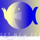 Новогодняя открытка с птицей и рыбой 1, Богорад Виктор
