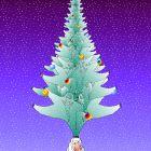 Новогодняя открытка с елочкой из зеленых чертиков, Богорад Виктор