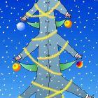 Новогодняя открытка с елкой из одного человека, Богорад Виктор