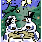 Снеговик и Снежная Баба за новогодним столом, Фельдштейн Андрей