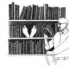 читатель у книжных полок, Гурский Аркадий