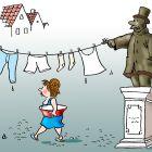 Бельё на памятнике, Александров Василий